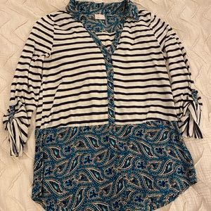 Anthropologie 3/4 length Paisley and Striped Top